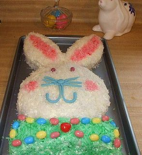 This fella is super cute! Easter Bunny Cake Recipe #easter #recipes