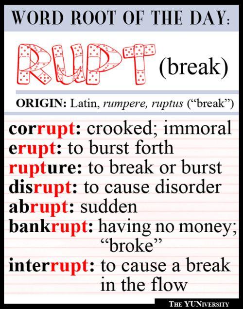 WORD ROOTS: rupt