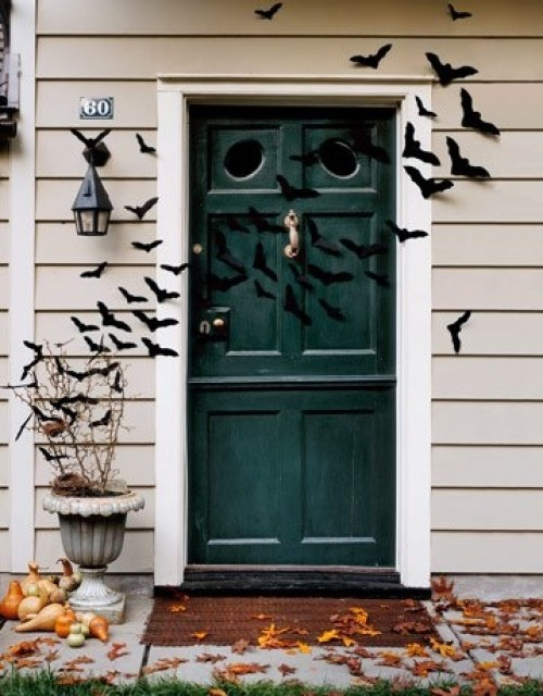 Halloween door with bats