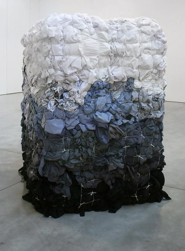 Shinique Smith - Bale variant no 0017, 2009. Hand-dyed clothing, fabric, binding and wood.  72 x 52 x 52 inches.