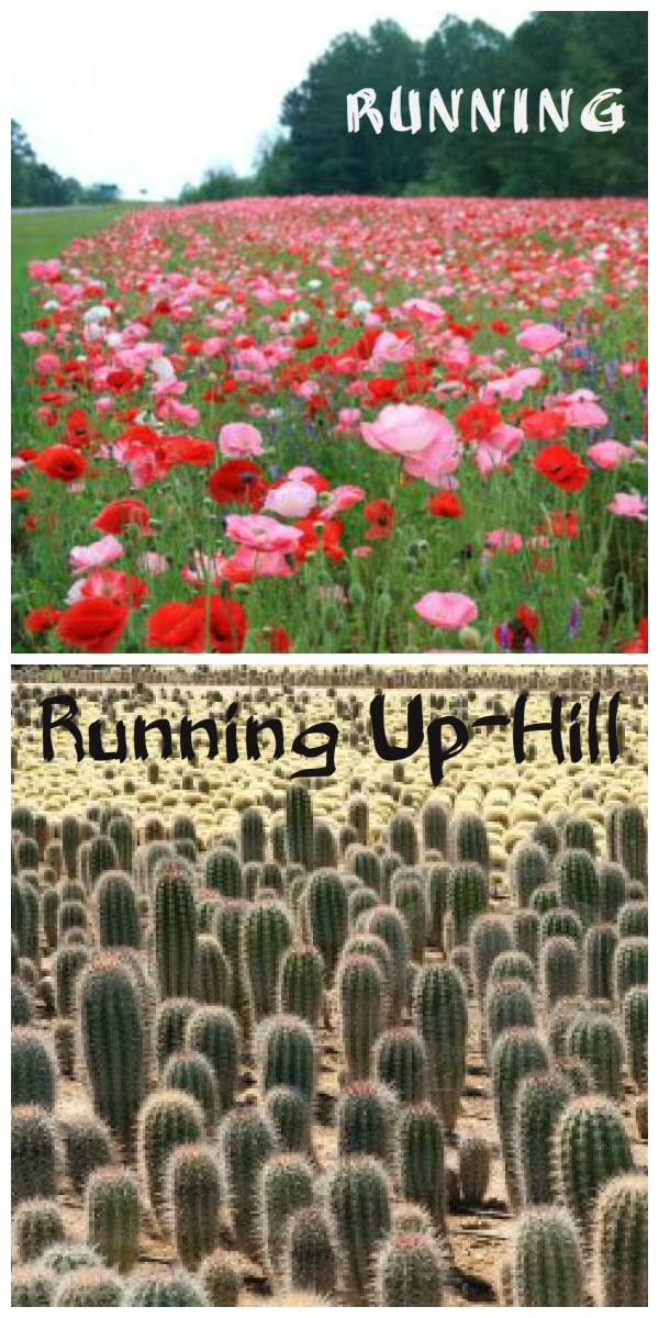 Running vs running up hill!