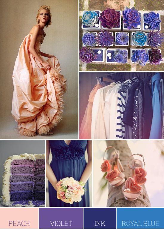 Straturile tortului in culorile preferate, piersica, albastru, violet, buchet ca idee de a-ti personaliza tortul de nunta