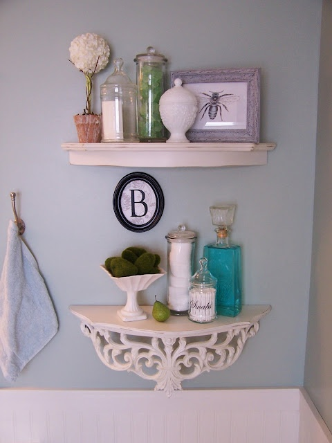 Cute shelves to organize in the bathroom.