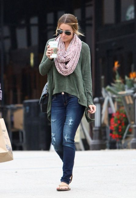 Lauren Conrad-- i love the hair, sunglasses, scarf, shirt, jeans and even the plain flip flops. Maybe I just love her?