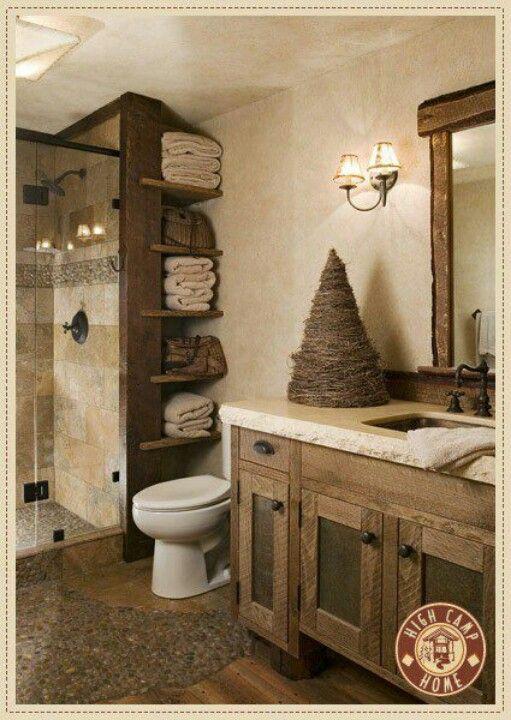 Master Bathroom idea: the tile design (shower & floor) & the shelve storage space