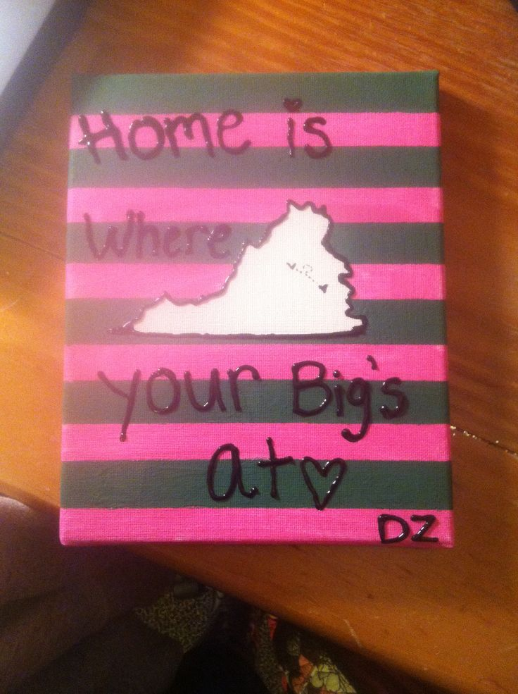 Home is where your bigs at! A heart on where your little lives and a heart where you live. #sorority #crafts #diy #greek #gifts