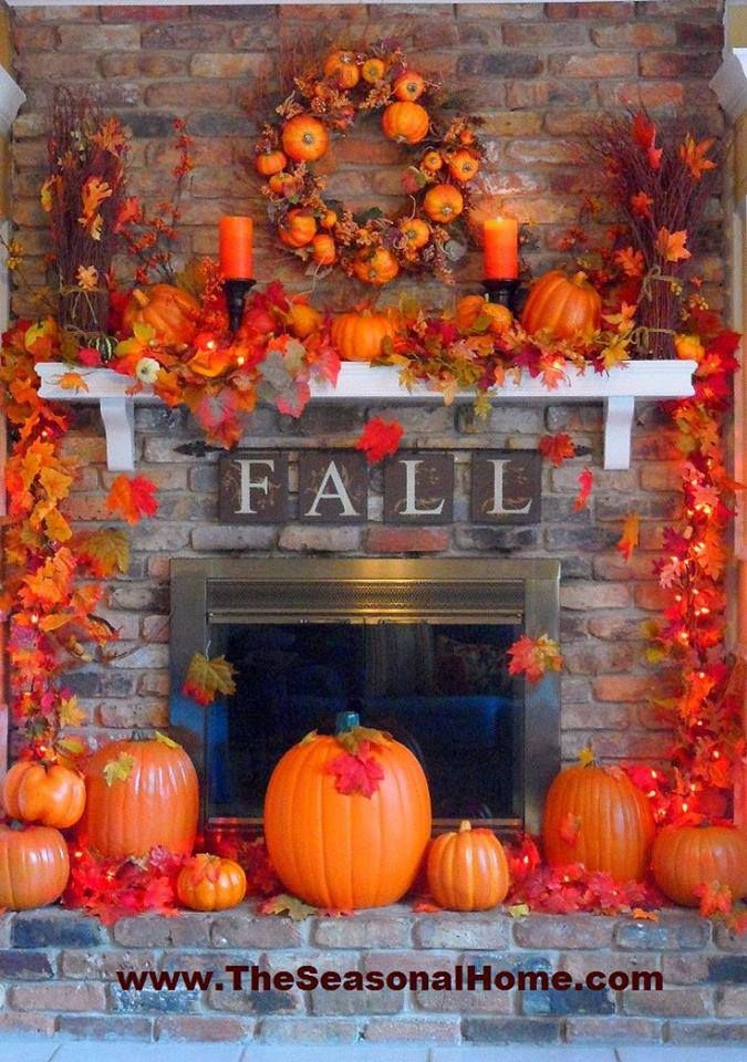 Fall fireplace decorations.