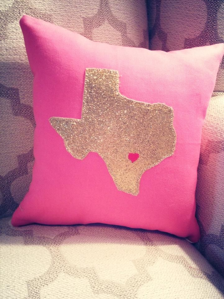 "CaLi Lou ""Little Miss Tex"" bright pink pillow with a glittery gold appliqué!  Comes in every color!  Texas Pride, Austin Love  www.facebook.com/caliloucreations"