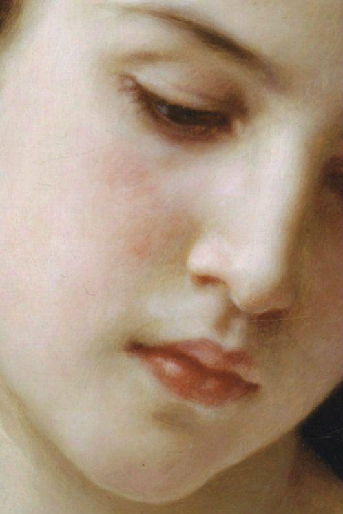 ❥ Testa di giovane ragazza (particolare), William-Adolphe Bouguereau, 1898