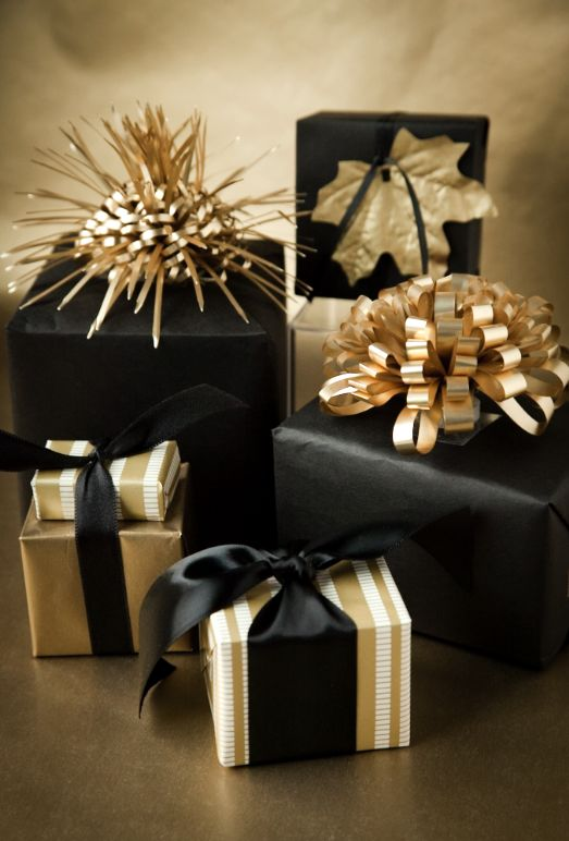 glamorous gold and black gift wrap