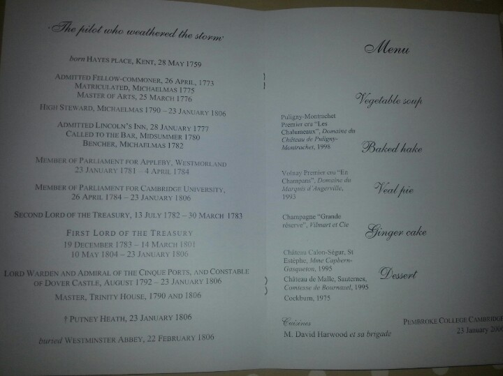 Commemorative Pitt dinner at Pembroke 2006 : programme page 3. Yes, yes, I know,  veal pie for the main course? I was halfway through before I realised what they'd done there. Ha ha.