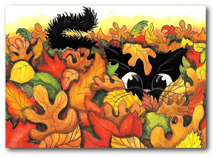 Black Cat Hiding in Autumn Leaves ArT 5x7 by Amy Lyn Bihrle