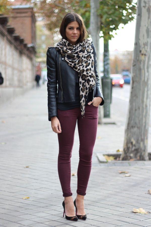 Burgundy skinny jeans, leather jacket, heels