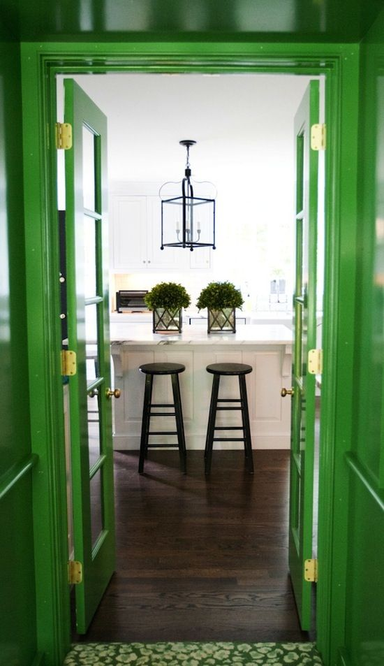 The Zhush: Grays Laney I  I friggin love this! The emerald green paint, dark wood floors, white, black and plants