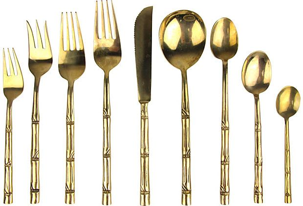Thai Bamboo Brass Flatware, Svc. for 12 on @One Kings Lane Vintage & Market Finds by Ruby + George