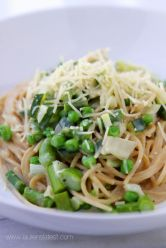 Lemon Basil Whole Wheat Spaghetti with Spring Veggies