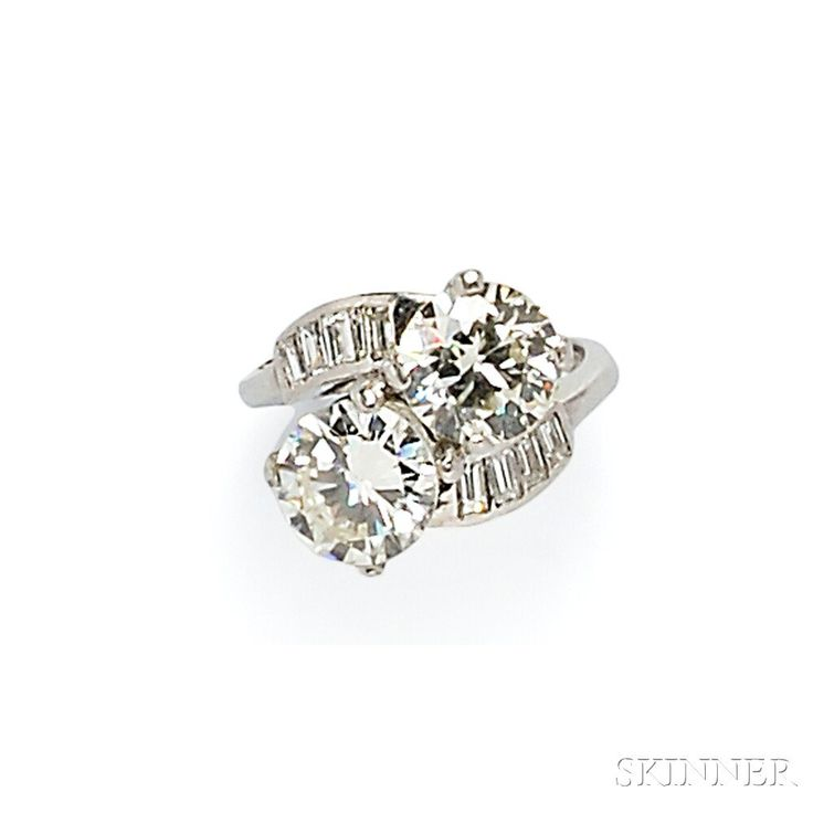 Platinum and Diamond Twin-stone Ring | Sale Number 2746B, Lot Number 654 | Skinner Auctioneers