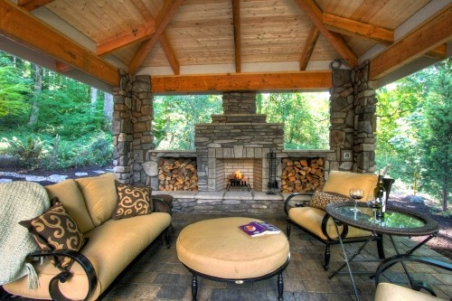 covered outdoor living patio covered outdoor fireplace   Outdoor Living Spaces   Pinterest