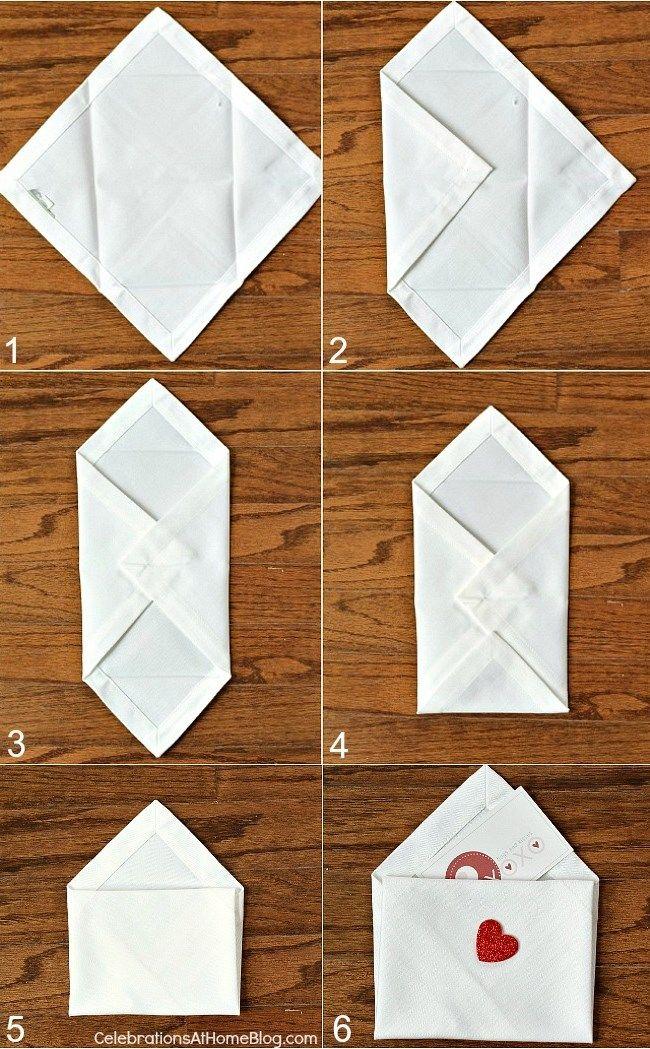 How to fold Valentine's Day napkin envelopes. Cute! #diy