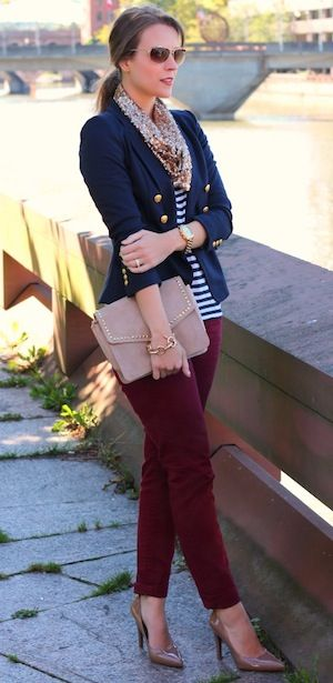 striped top with a preppy double-breasted blazer and a pair of oxblood jeans. But ditch the scarf and add a necklace.