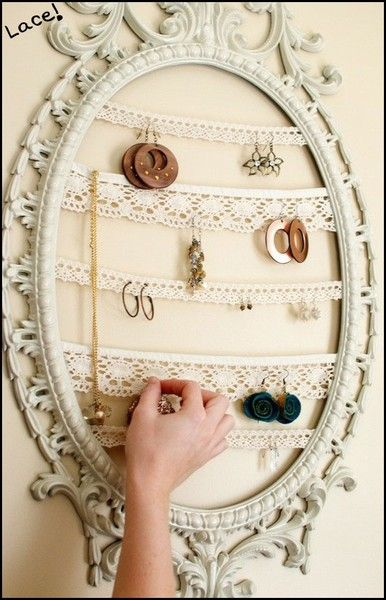 I loveeeee this. Vintage frame with lace to hang earrings! Beautiful <3