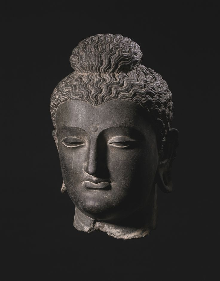 A monumental gray schist head of Buddha, Ancient region of Gandhara, Kushan period, 2nd-3rd century