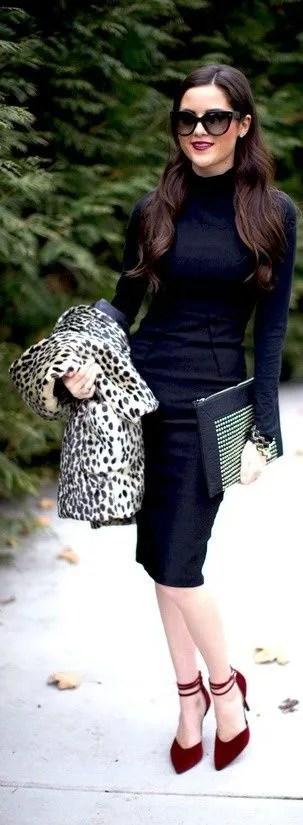 All Black remains ever classic, Leopard coat + burgundy heels.
