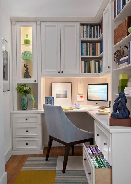 Beautiful home office nook.  The lighting keeps it open and bright.