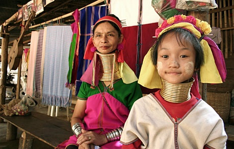 Kayan women of Thailand, National Geographic Channel, Taboo show. http://www.environmentalgraffiti.com/news-taboo-neck-rings-kayan-women-thailand, and http://wearetherealdeal.com/2011/08/27/what-would-you-do-to-feel-beautiful/