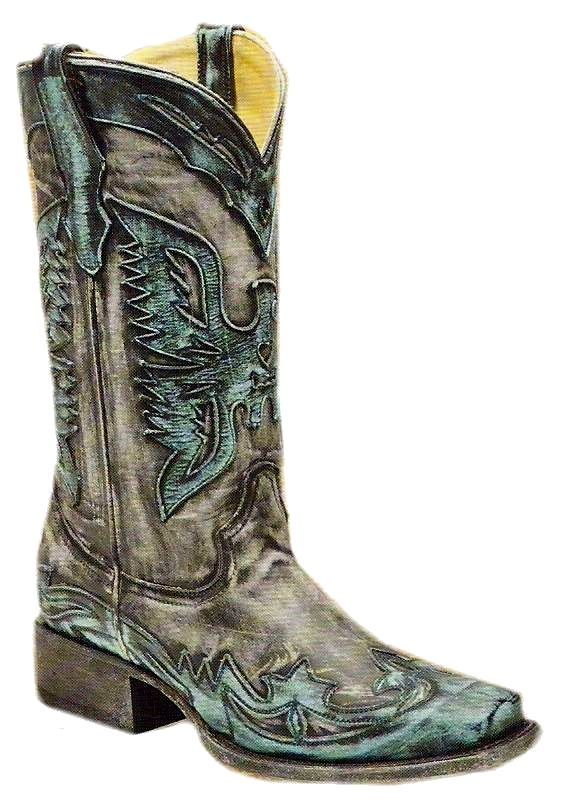 Ladies Charcoal Black/Turquoise Eagle With Square Toe R2298