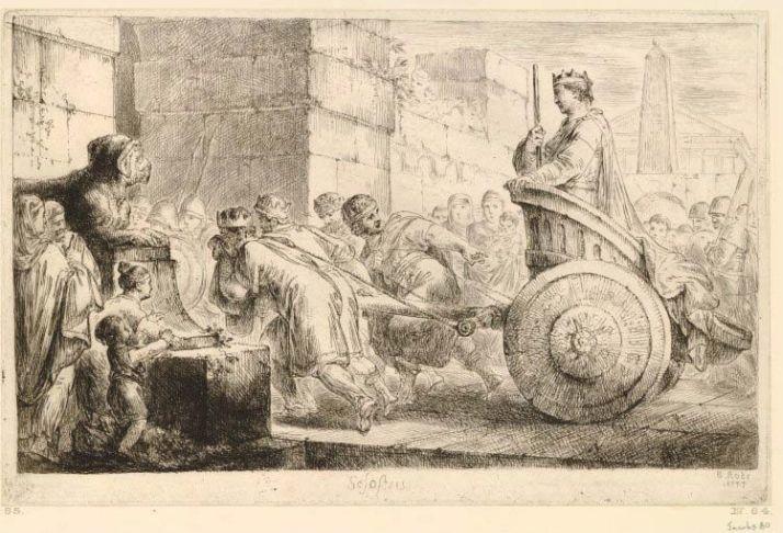 Gravure de la Bibliothèque historique de Diodore de Sicile : Sésostris III paradant sur un char, 1777, Christian Bernard Rhode. H : 60,3 cm ; l : 45,1 cm © Londres, British Museum