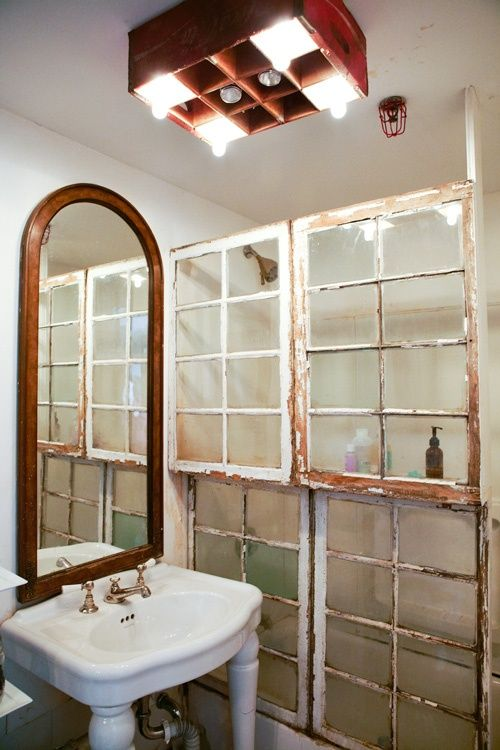 Old windows repurposed as a shower- favorite Pinterest pins