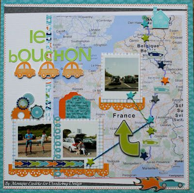 Doodlebug Design Inc Blog: Travel Layouts by Monique Liedtke...might do something like this with our Colorado/New Mexico route from last summer