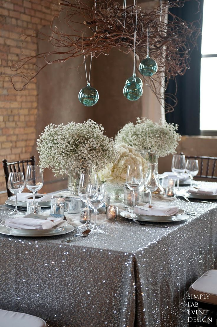 Baby's Breath and Hydrangea Centerpieces on Silver Glitter Table Cloth