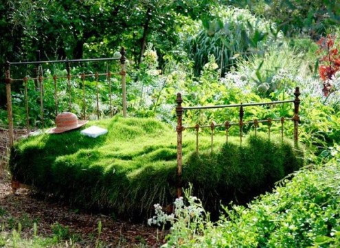 Wrought iron frame and a bed of greens