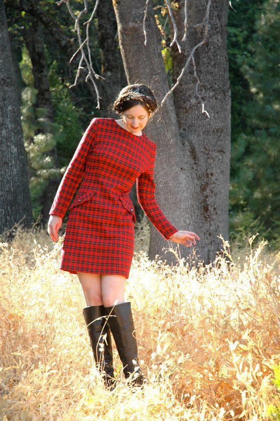 Vintage Red Plaid Mini Dress// Autumn Dress// by AstralBoutique, $38.00