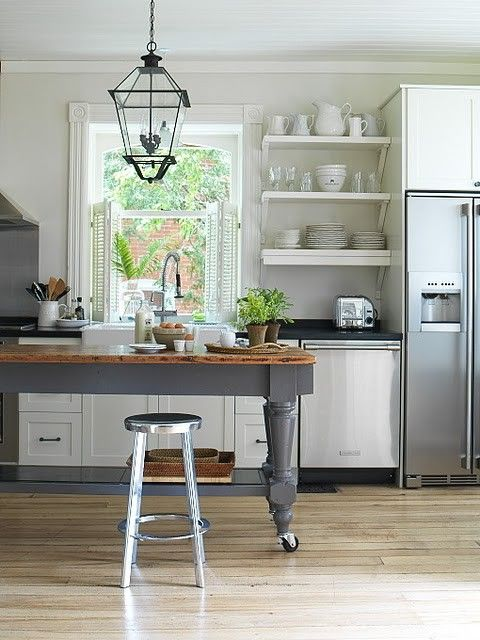 freestanding island open shelves kitchens pinterest on kitchen decor open shelves id=20172