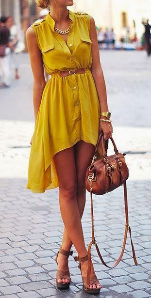 Sleeveless cute mustard dress fashion style