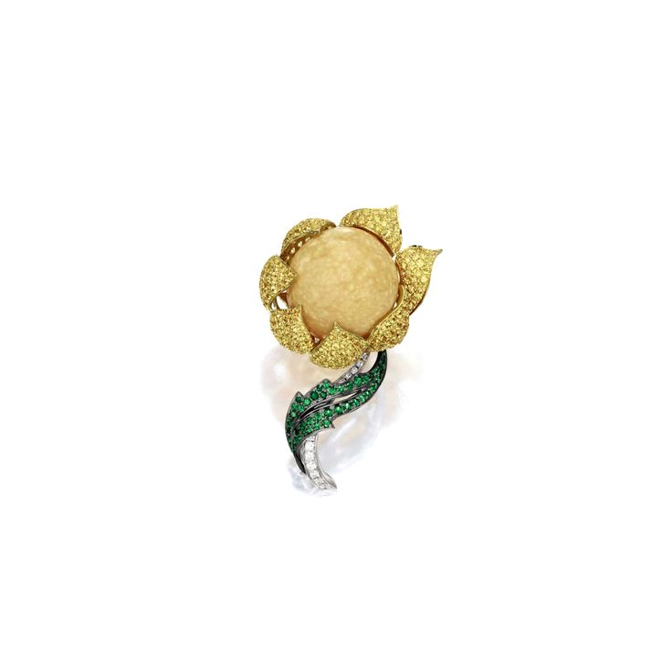 Melo-pearl, Yellow Sapphire, Garnet and Diamond 'Flower' Brooch | Lot | Sotheby's