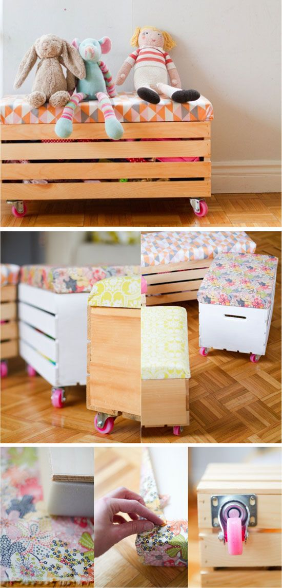 #DIY toy boxes with cushion and casters | Mommo Designs #kids