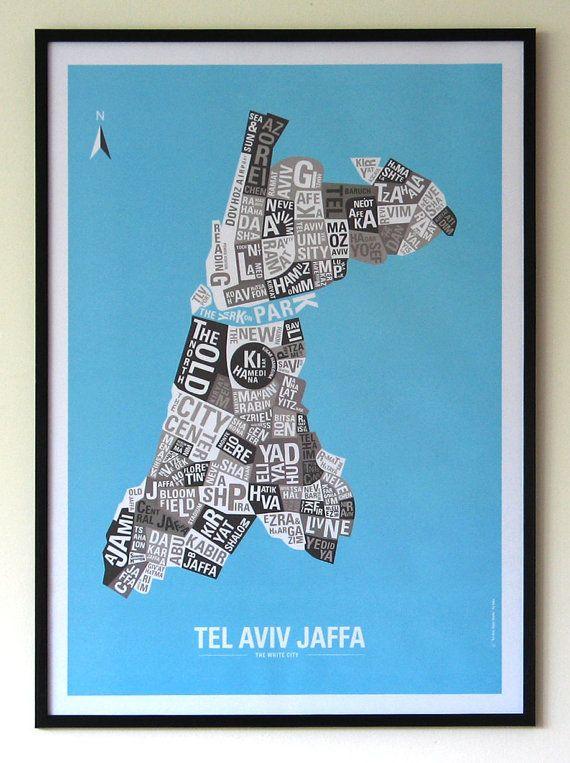 Tel Aviv Typography Map   Tel Aviv State Hoods  by StarterDesign, $24.90