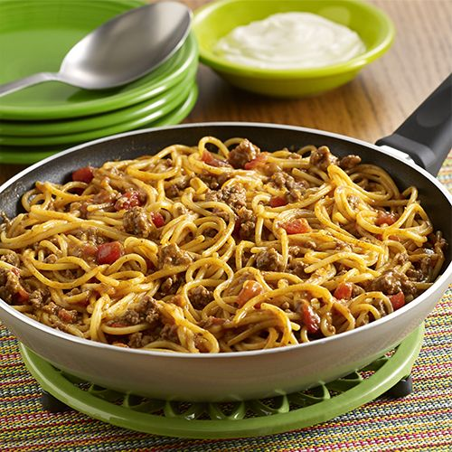 A pot-sized pasta recipe with the flavor of tacos made in one pan using ground beef, zesty tomatoes and spaghetti, topped with sour cream