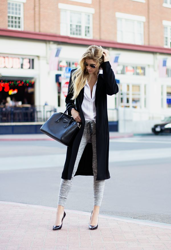 Casual Chic Streetstyle. Pair an un-done button down with slimming heathered grey pants for an easy going yet fashionable look.