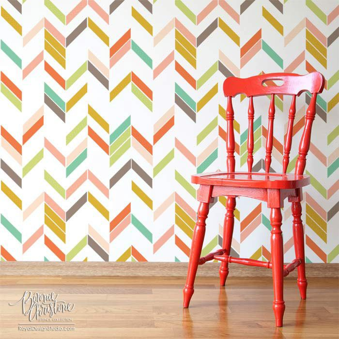 Herringbone Shuffle Modern Geometric Wall Stencil | Royal Design Studio