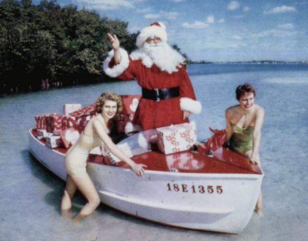 Santa Claus and models, Sarasota, Florida -- Taken some time in 1965 --  Florida Memory on Flickr -- State Library and Archives of Florida