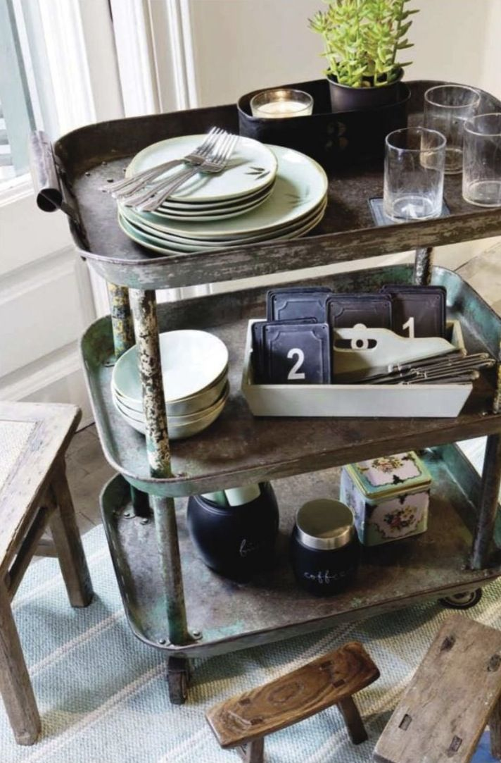 i would clean this up as food dishes are here - however, it is an excellent bussing cart for when we have guests & want to set or clear the table. Love this idea.