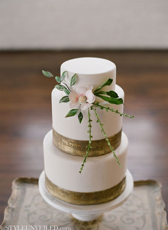White Cake with Gold, Pink, and Green Detail - This could be so perfect. Maybe a trio of cakes in similar theme.