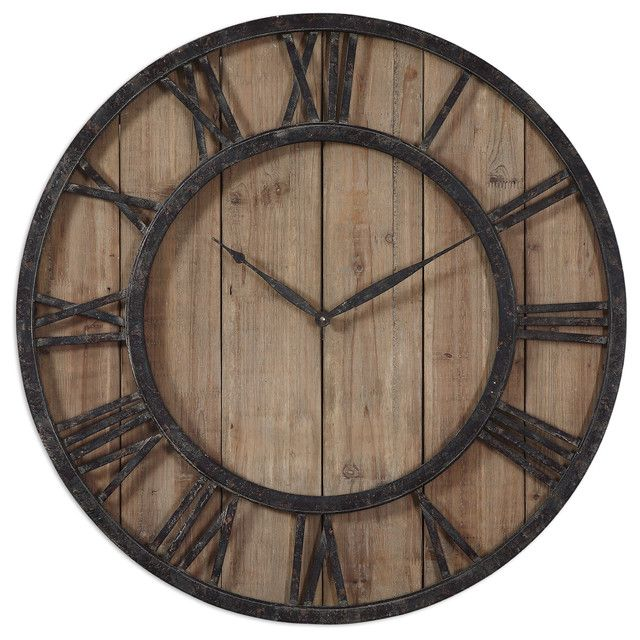 rustic wooden roman numeral wall clock ticking away on wall clocks id=74057