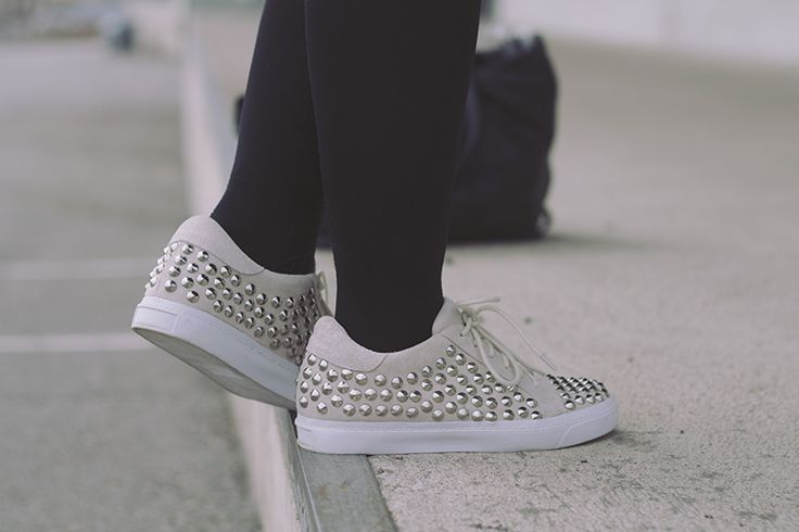 Jeffrey Campbell studded suede sneakers