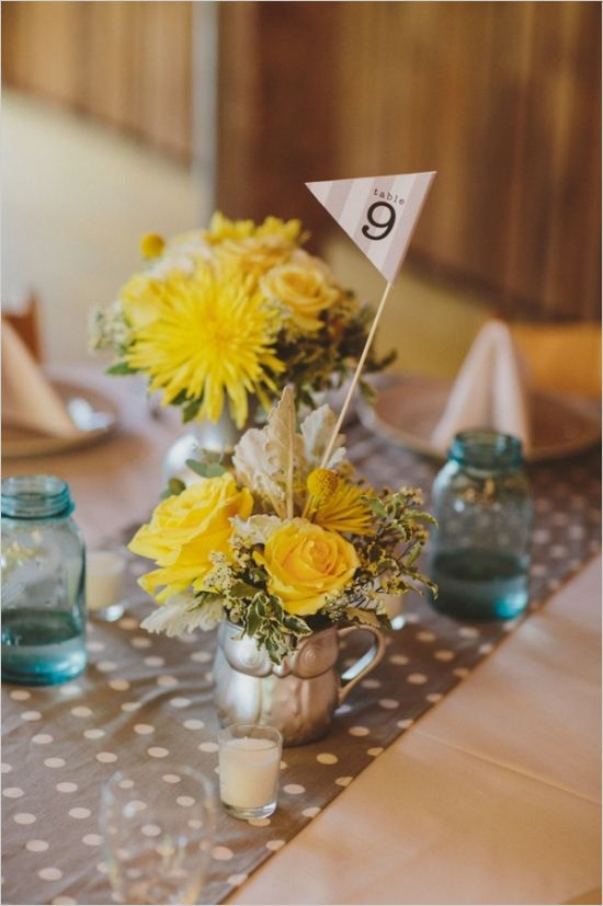 paper flag table number ideas #weddingreception #receptiontablenumbers #weddingchicks http://www.weddingchicks.com/2014/01/17/gray-and-yellow-wedding-2/